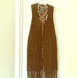 TRUE RELIGION CARLY FRINGE VEST SUADE LEATHER